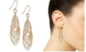 Italian Gold Textured Marquise Multi-Ring Drop Earrings in 14k Gold-Plated Sterling Silver