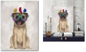 """Courtside Market Pug and Flower Glasses Gallery-Wrapped Canvas Wall Art - 18"""" x 24"""""""