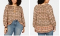 Lucky Brand Plus Size Paisley-Print Peasant Top