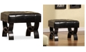 """Furniture Central Park 24"""" Tufted Bonded Leather Ottoman, Quick Ship"""