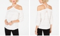 INC International Concepts I.N.C. Embroidered Cold-Shoulder Top, Created for Macy's