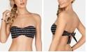Bar III Dotted Stripe Printed Bandeau Bikini Top, Created For Macy's