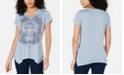 Style & Co Petite Graphic-Print Handkerchief-Hem T-Shirt, Created for Macy's