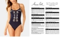 Anne Cole Studio Wildflower Embroidered Corset-Back One-Piece Swimsuit
