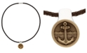 Macy's Men's Americana Braided Leather Necklace with Bronze and Sterling Silver Pendant