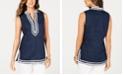 Charter Club Ric-Rac-Trim Linen Tunic, Created for Macy's