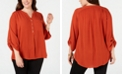 NY Collection Plus Size Split-Neck Top