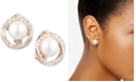 Anne Klein Gold-Tone Pavé & Imitation Pearl Halo E-Z Comfort Clip-On Button Earrings