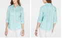 Charter Club Printed Button-Down Linen Top, Created for Macy's