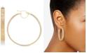 Italian Gold Greek Key Mesh Hoop Earrings in 14k Gold