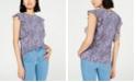 Michael Kors Printed Flutter-Sleeve Top, Regular & Petite