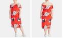 RACHEL Rachel Roy Trendy Plus Size Floral Off-The-Shoulder Midi Dress