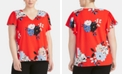 RACHEL Rachel Roy Trendy Plus Size  Floral-Print Ruffled-Sleeve Top