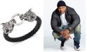LEGACY for MEN by Simone I. Smith Wolf Head Leather Braided Bracelet in Stainless Steel