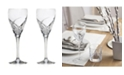 Lorren Home Trends DaVinci Grosetto Collection Red White Goblet -Set of 2