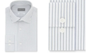 Michael Kors Micheal Kors Men's Classic/Regular-Fit Airsoft Stretch Performance Non-Iron Green Stripe Dress Shirt