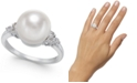 Macy's Cultured Freshwater Pearl (10mm) & Diamond (1/6 ct. t.w.) Statement Ring in 14k White Gold