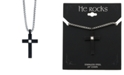 """He Rocks Contemporary Black Cross 24"""" Pendant Necklace in Stainless Steel"""