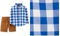 Carter's Baby Boys 2-Pc. Cotton Checkered Button-Front Top & Canvas Shorts Set