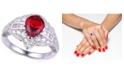 Macy's Ruby Cubic Zirconia Teardrop Ring in Sterling Silver