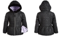 S Rothschild & CO Toddler Girls Hooded Quilted Coat With Faux-Fur Trim & Mittens