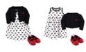 Hudson Baby Dress, Cardigan, Shoe Set, 3 Piece, Scottie Dog, 0-3 Months