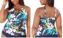 Lauren Ralph Lauren Plus Size Watercolor Tropical Printed Tankini Top