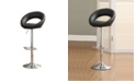 Benzara Leather and Metal Bar Stool, with Adjustable Height, Pack of 2