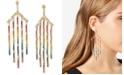 RACHEL Rachel Roy Gold-Tone Rainbow Crystal Believe & Courage Chandelier Earrings
