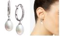 Macy's Cultured Freshwater Pearl (7 x 9mm) & Diamond (1/10 ct. t.w.) Hoop Drop Earrings in Sterling Silver