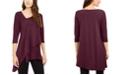 Alfani Asymmetrical-Hem 3/4-Sleeve Top, Created for Macy's