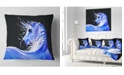 "Design Art Designart Blue Horse Acrylic Art Abstract Throw Pillow - 16"" X 16"""