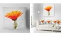 "Design Art Designart Yellow Watercolor Coreopsis Flower Floral Throw Pillow - 18"" X 18"""