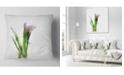 """Design Art Designart Green Purple Watercolor Flower Sketch Floral Throw Pillow - 18"""" X 18"""""""