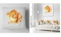 """Design Art Designart Yellow Rose Flower On White Back Flower Throw Pillow - 16"""" X 16"""""""