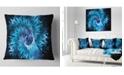 """Design Art Designart Blue Magical Wormhole Fractal Abstract Throw Pillow - 16"""" X 16"""""""