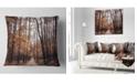 "Design Art Designart Road In Autumn Golden Forest Forest Throw Pillow - 16"" X 16"""