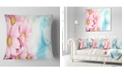 """Design Art Designart Pink Flowers Bouquet On Blue Floral Throw Pillow - 18"""" X 18"""""""