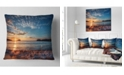 "Design Art Designart Tranquil Beach And Whimsical Clouds Seashore Photo Throw Pillow - 16"" X 16"""
