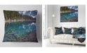 """Design Art Designart Blue Waters And Mountains Landscape Printed Throw Pillow - 18"""" X 18"""""""
