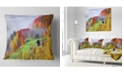 "Design Art Designart Colorful Autumn Landscape In Mountains Landscape Printed Throw Pillow - 16"" X 16"""