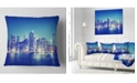 "Design Art Designart New York City Night Panorama Throw Pillow - 16"" X 16"""