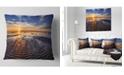 "Design Art Designart Waves On The Sand During Sunset Seashore Throw Pillow - 16"" X 16"""