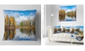 """Design Art Designart Nice Autumn Trees With Forest Lake Landscape Printed Throw Pillow - 18"""" X 18"""""""