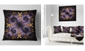 "Design Art Designart Yellow And Violet Fractal Flower Abstract Throw Pillow - 18"" X 18"""