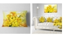 "Design Art Designart Bouquet Of Yellow Narcissus Flowers Floral Throw Pillow - 12"" X 20"""