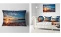 "Design Art Designart Tranquil Beach And Whimsical Clouds Seashore Photo Throw Pillow - 12"" X 20"""