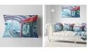 "Design Art Designart Departing London Subway Train Modern Cityscape Throw Pillow - 12"" X 20"""