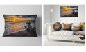 "Design Art Designart Log On Beach During Sunset Seashore Throw Pillow - 12"" X 20"""