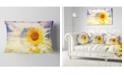 "Design Art Designart Double Exposure Yellow Sunflowers Floral Throw Pillow - 12"" X 20"""